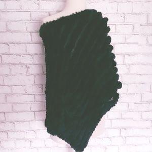 Bcbg Max Azria Black Rabbit Fur Poncho Wrap